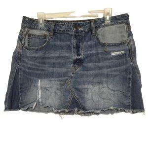 American Eagle denim distressed mini skirt